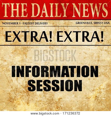 information session, article text in newspaper