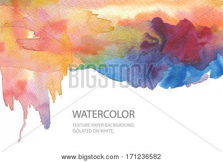 Abstract watercolor blot painted background. Texture paper. Isolated. Business card template.