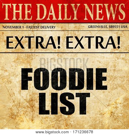 foodie list, article text in newspaper