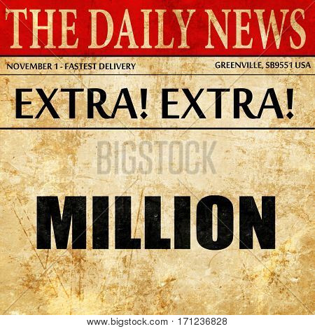 million, article text in newspaper
