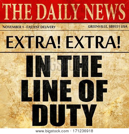 in the line of duty, article text in newspaper