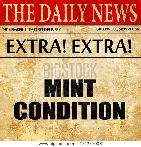 mint condition, article text in newspaper