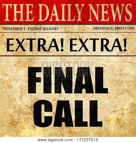 final call, article text in newspaper