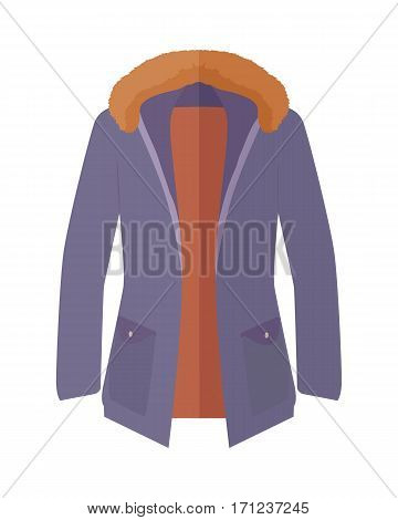 Long warm jacket with fur collar icon. Unisex everyday clothing in casual style flat vector illustration isolated on white background. For clothing store ad, fashion concept, app button, web design