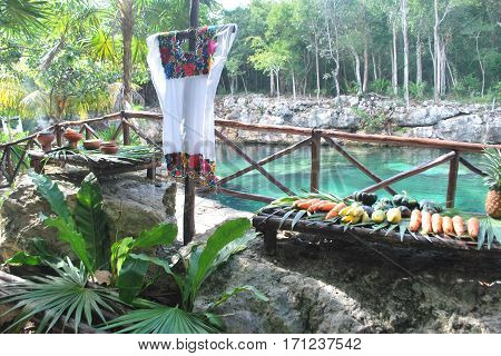 Table set up for Mayan Shaman ceremony