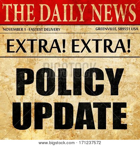 policy update, article text in newspaper