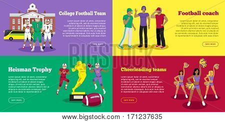 College football team. Football coach. Heisman trophy. Cheerleading girls web banners. Set of banners of players near college, thoughtful football coaches, golden award, cheerleading girl teams. Vector