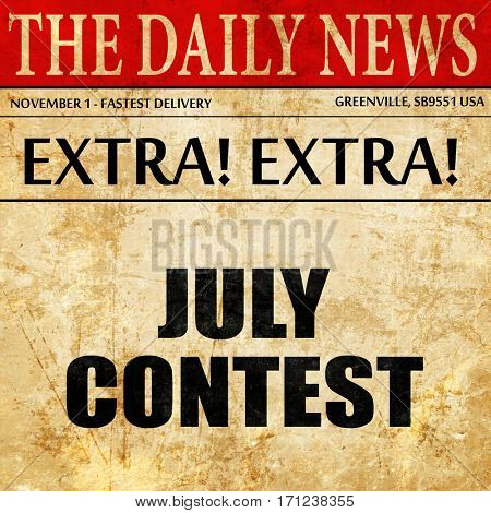 july contest, article text in newspaper