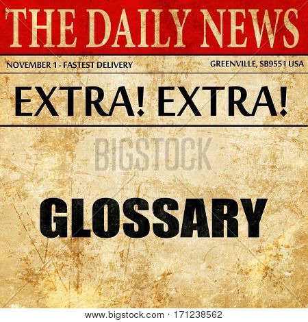glossary, article text in newspaper