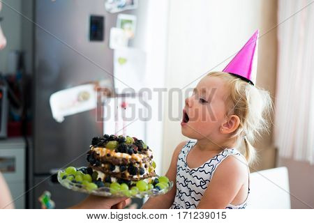 Cute little girl blowing candles on her fruit birthday cake. Pink party hat on head.