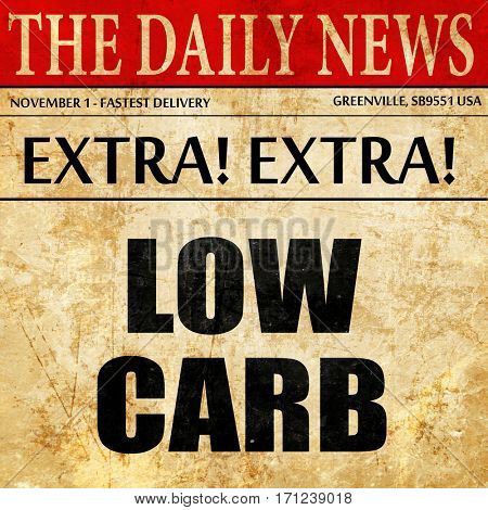 low carb, article text in newspaper