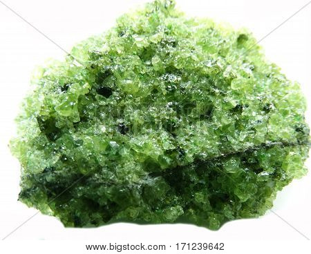 olivine semigem geode crystals geological mineral isolated poster