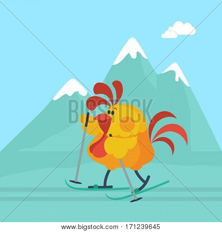 Rooster skiing in mountains. Cute cock cartoon goes skiing, snow-capped mountains on background flat vector. Chinese zodiac calendar animal character. Active leisure on winter holiday vacation concept