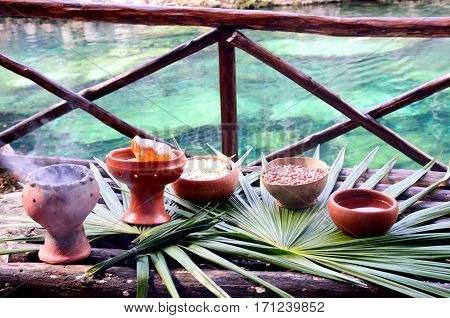 Table for Mayan Shaman Ceremony yucatan Mexico