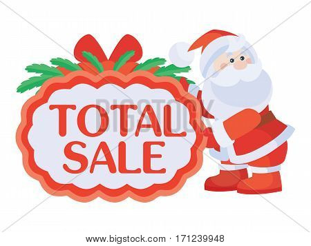 Total sale Christmas sticker. Bright red tag with Santa Claus character flat vector illustration isolated on white background. For stores traditional winter seasonal discounts promotions