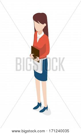Restaurant. Full length portrait of young waitress holding brown notebook. Female worker wearing white shirt, red blouse, blue skirt and shoes. Long white apron on waist. Flat design. Vector