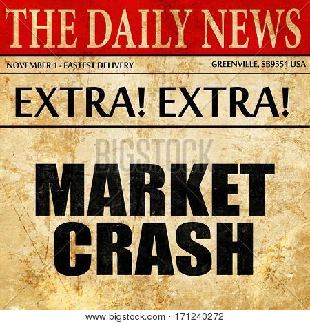 market crash, article text in newspaper