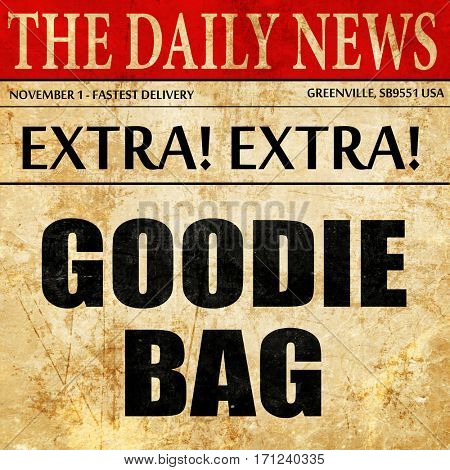 goodie bag, article text in newspaper