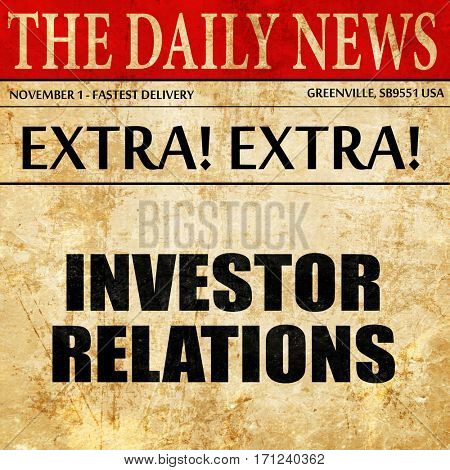 investor relations, article text in newspaper