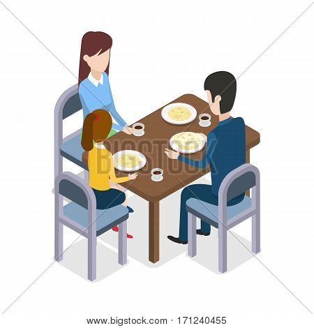 At restaurant. Family of three members gathered together are sitting around the dining table. Process of food consuming. Three glasses and plates with meal on wooden table. Flat design. Vector