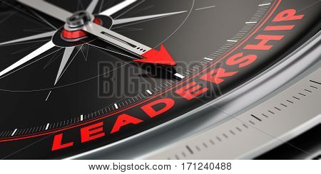 3D illustration of a compass with needle pointing the word leadership over black background. Concept of superiority.