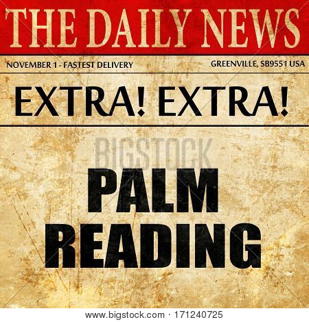 palm reading, article text in newspaper