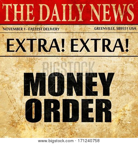 money order, article text in newspaper