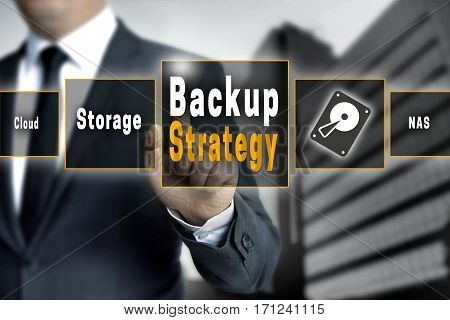 Backup Strategy Touchscreen Is Operated By A Businessman