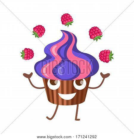 Sweets. Fruit cupcake juggle with four raspberries. Violet-pink high muffin in brown stripped form for baking. Side view of colourful bun. Funny cartoon character. Flat design. Vector illustration