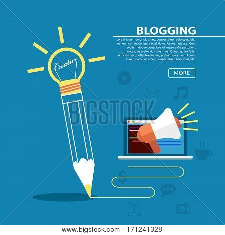 Pencil write on blue background Creative writing and storytelling concept