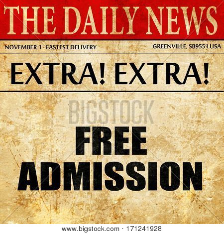free admission, article text in newspaper
