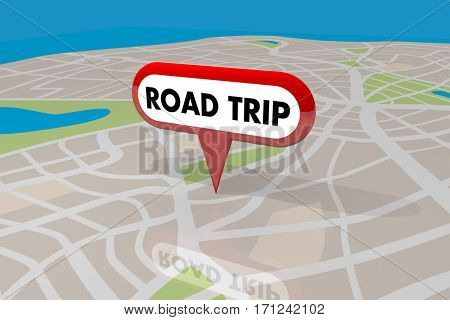 Road Trip Travel Planner Roads Map Pin Spot Route 3d Illustration
