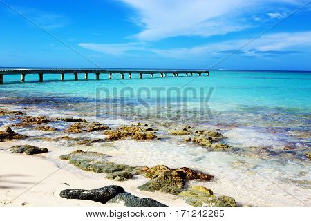 Beautiful caribbean sea and blue sky .Sommer ocean landscape as background. Caribbean sea and rock stones.