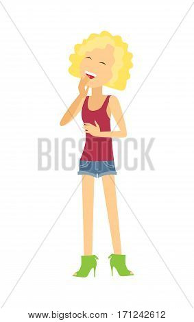 Joyful young woman. Pretty blonde girl laughing flat vector illustration isolated on white background. Cheerful cartoon woman character. Joking girl. Positive emotions, humor and happiness concept