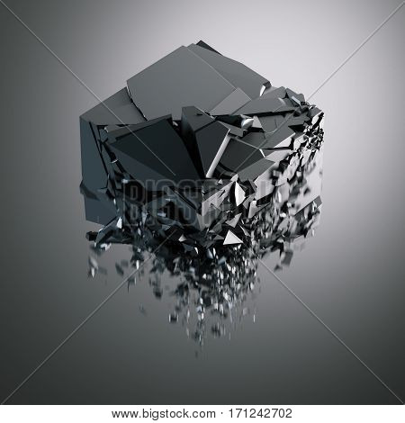Destruction of black glossy cube on dark background. 3d rendering