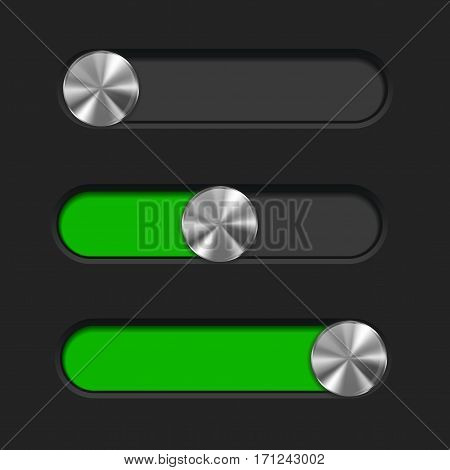 Interface slider. Green bar with round metal button. Vector illustration