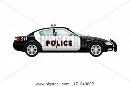 Police car isolated illustration. Black-white automobile in simple cartoon style. Speed mean of transportation. Front and back headlights. Clear windows. Four doors. Side view. Flat design. Vector