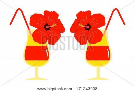 vector summer cocktails isolated on white background