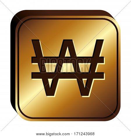 won currency symbol icon image, vector illustration