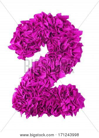 Two. Handmade number 2 from magenta color crepe paper isolated on white background. Set of pink numbers from scraps of paper