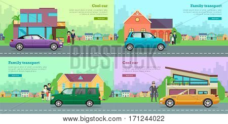 Collection of icons with various vehicles. Cool violet car with shifted roof and yellow limousine near modern houses. Family transport. Green minivan and small blue car on road near families. Vector