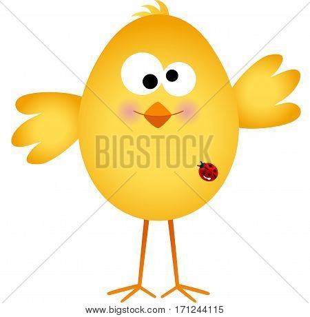 Scalable vectorial image representing a funny egg chick cartoon, , isolated on white.