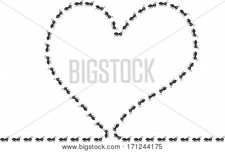 Scalable vectorial image representing a ants frame, heart made of ants, isolated on white.