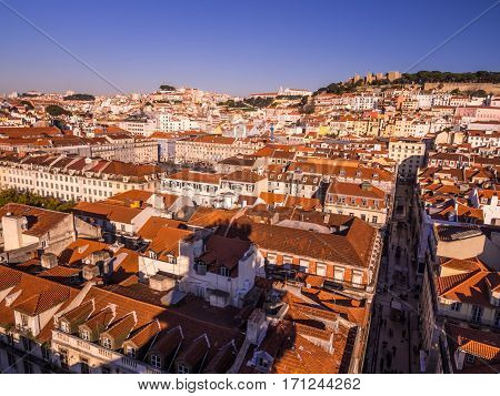 LISBON PORTUGAL - JANUARY 10 2017: Cityscape of Lisbon as seen from Miradouro do Elevador de Santa Justa (view point at the top of Santa Justa Elevator).