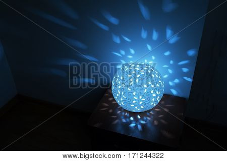 blue Round table lamp night light included