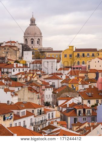 LISBON PORTUGAL - JANUARY 10 2017: Cityscape of Lisbon with the National Pantheon Portugal seen from Portas do Sol.