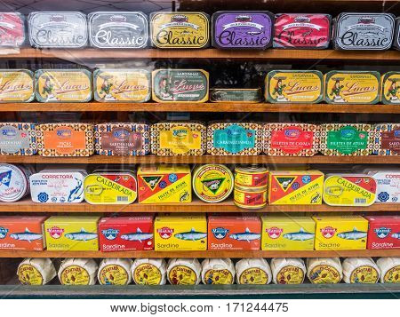 LISBON PORTUGAL - JANUARY 10 2017: Different types of sardines and other typical Portuguese products sold in the old town of Lisbon.