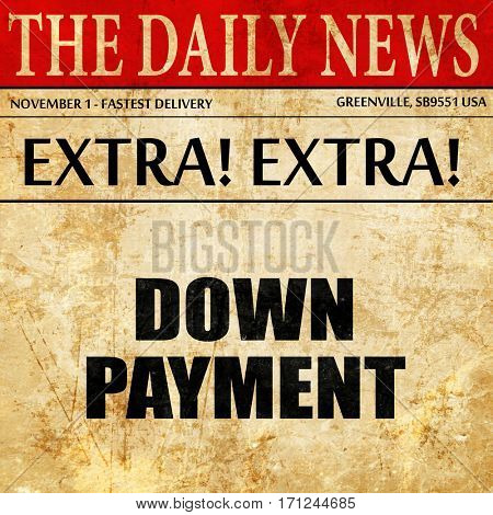 downpayment, article text in newspaper