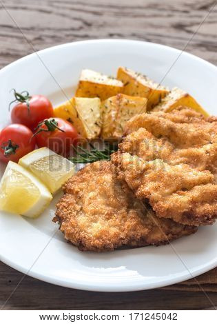 Portion Of Schnitzel With Garnish