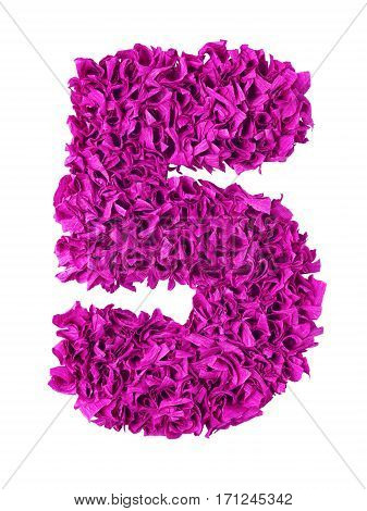 Five. Handmade number 5 from magenta color crepe paper isolated on white background. Set of pink numbers from scraps of paper